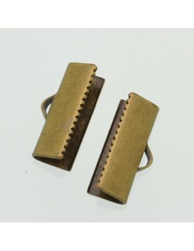TERMINALI CAPICORDA bronzo PER nastro16x7 mm Bracciale collana orecchini