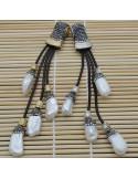Pendente lungo con 4 gocce di perle di fiume marcasite cordoni pelle 12cm