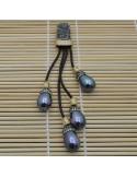 Pendente lungo con 4 gocce di madreperla grigio attorno marcasite cordoni pelle 12cm