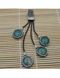 Pendente lungo con 4 ciondolo con agata verde attorno marcasite cordoni pelle 12cm