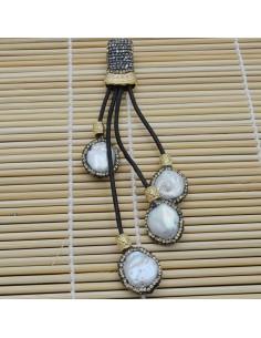 Pendente lungo con 4 ciondolo con perle di fiume attorno marcasite cordoni pelle 12cm