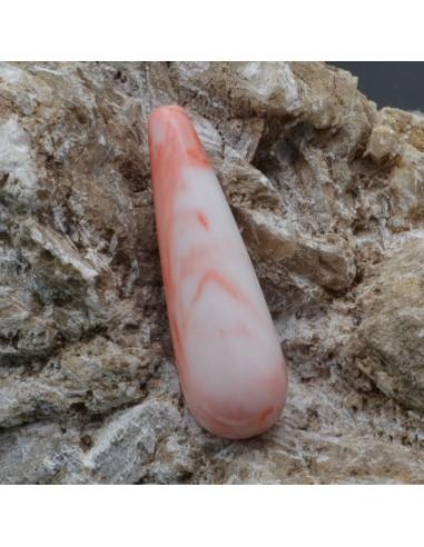 Goccia pasta corallo turchese 13x40 mm foro passante per orecchini pendente per tue creazioni 1pz