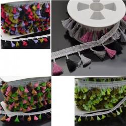 passamaneria Nastro frangia con nappine multicol Ottima Qualità 50 cm