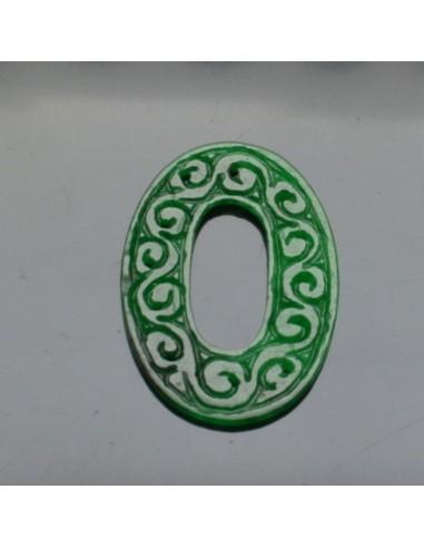 Goccia piatta incisa giada tinta 33x50 mm per orecchini ciondolo pendete