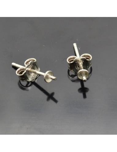 Base orecchini a perno con piatto 3x15 mm e perno centrale in argento 925%5 paia