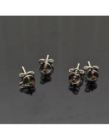 orecchini a perno in argento 925% con piatto 5x14 mm e perno centrale con anellini per ciondoli