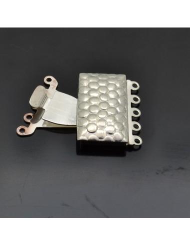 Chiusura rettangolare per collana o bracciale con 5 fili 23x20 mm