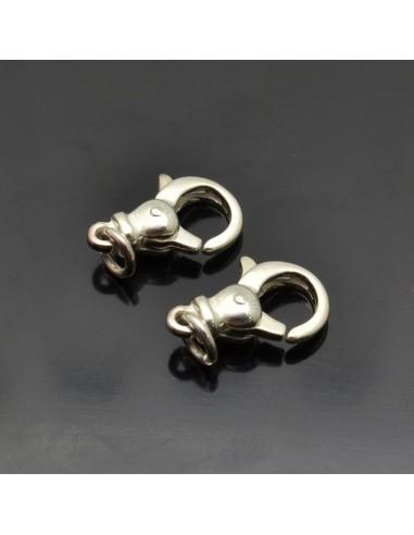 Moschettoni 15x10 mm da 2 pezzi in argento 925%
