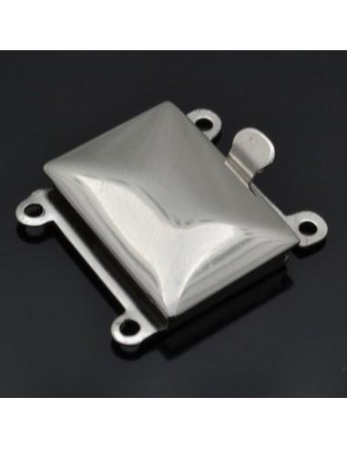 Chiusura per 2 fili 18x20 mm in argento 925%