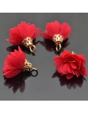 ciondoli nappine stoffa fiore per bijoux per collana orecchini ciondolo 20 mm 3 pz
