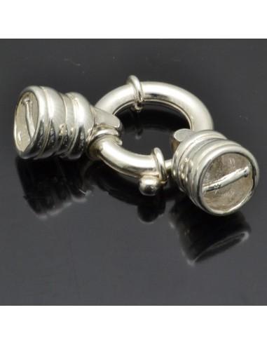 Moschettone chiusura con coppette 9 mm in argento 925%
