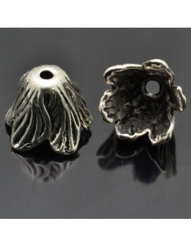 Copri perle fiore in metallo 12x18 mm 2 pz