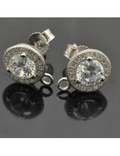 Base orecchini a perno con zircone e brillanti 11x9 mm 1coppia in argento 925%