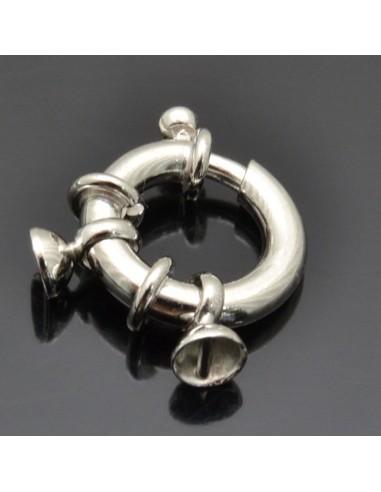 Chiusura a moschettone da 18x12 mm con coppette 4 mm 1pz in argento 925%