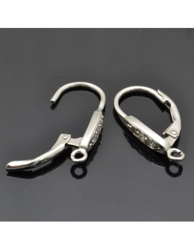 Monachelle chiuse con zirconi 20x3 mm 1 coppia in argento 925%