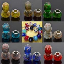perlina a foro largo in vetro RONDELLE 10x14 mm foro 5mm 2p Per Bracciale