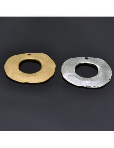 Ciondolo Zama ovale pendente Oro e Argento