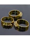 Base anello in ottone regolabile con 4 anelle per charms 5pz fai da te bigiotteria