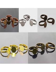 Basi per anello con piastra 10mm in ottone Anello regolabile da decorare 5pz
