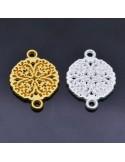 Ciondolo Zama inframezzo tondo con quadrifoglio Oro e Argento 18x13 mm 1Pz.