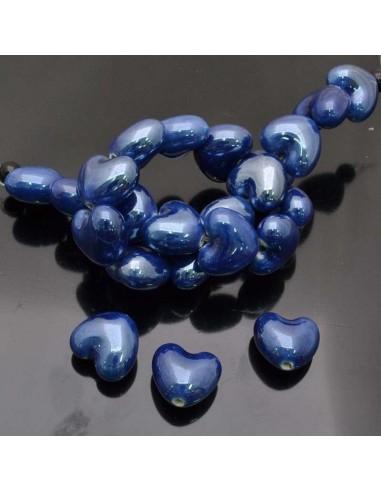 perle a cuore Perla in ceramica a cuore pompata bellissima e luminosa 13x15mm 3 pz