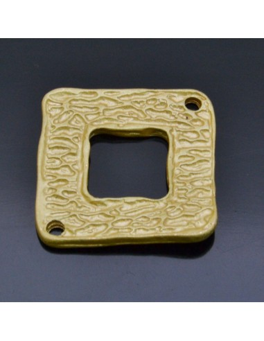 Ciondolo Zama inframezzo quadrato con 2 fori Oro 20x20 mm 2Pz.