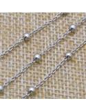 Catena con perlina 1,8x3 mm in argento 925% per 10 cm