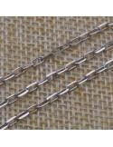 Catena con anelle rettangolari 2x4 mm in argento 925% per 10 cm