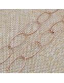 Catena in argento 925% placcato oro rosa anelle ovali sfaccettata 23 x 11 mm per 50 cm
