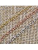 Catena in argento 925% anelle ovali piatte 3x4 mm per 50 cm di catena