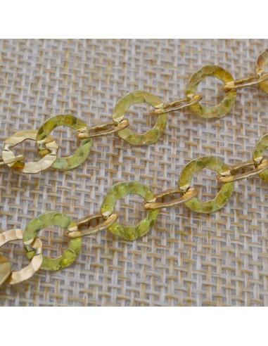 Catena in argento 925% placcato oro con anelle tonde 8 mm piatte lavorate Arezzo per 50 cm