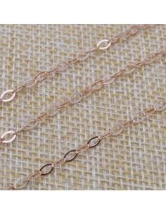 Catena in argento 925% anella ovali piatta 3x4 mm placcato oro rosa per 50 cm