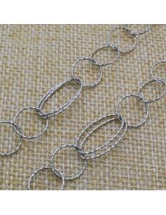 Catena in argento 925% anelle tonde e ovali 10 x 18 mm per 10 cm di catena