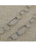 Catena in argento 925% anelle tonde e ovali 10x18 mm per 50 cm