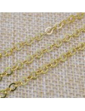 Catena in argento 925% placcato oro anelle rotonde piatte 3 mm per 50 cm