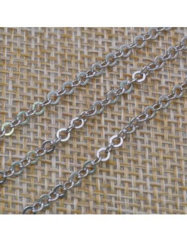 Catena in argento 925% anelle tonde piatte 2,5 mm per 10 cm
