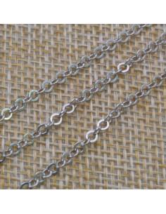 Catena in argento 925% anelle tonde piatte 2,5 mm per 50 cm