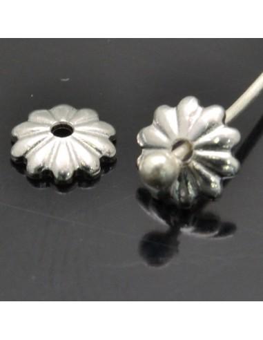 Copri perla fiore 5 mm in argento 925% 25pz
