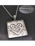 Bellissima collana ciondolo Quadrato con cuore ARGENTO 6x8 CM BASE catena attorcigliata 60CM