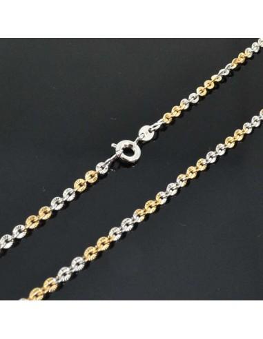 Base per collana catena maglia SFACCETTATE 2.8mm lungo 60CM per Ciondolo e pendente oro/argento