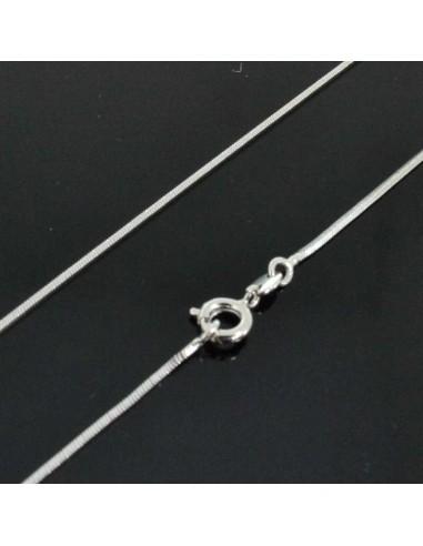 base Collana da donna uomo catena a serpente argento rodiato filo 1.2mm 45 cm