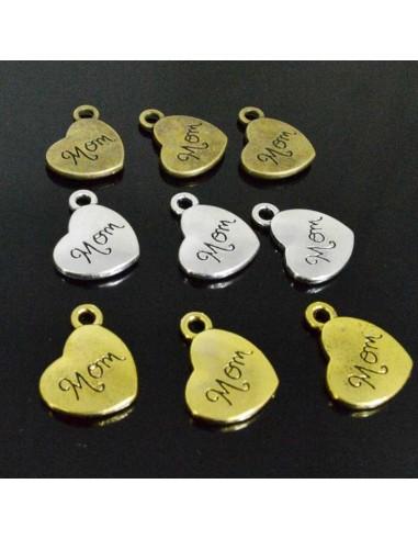 Ciondolo cuore con scritto mom 14x18 mm 3pz colore argento oro bronzo