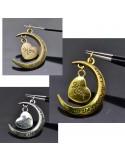 Ciondolo pentente SCRITTO LUNA E CUORE MOM 30 mm colore argento oro bronzo