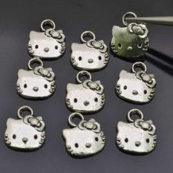 GATTI gatto Charms Ciondoli Animali 9pz 11mm per bigiotteria