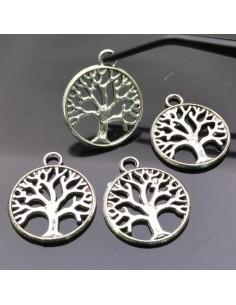 charms Ciondolo albero della vita 20mm in metallo colore argento 4 pz