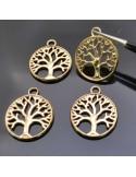 charms Ciondolo albero della vita 20mm in metallo colore oro 4 pz