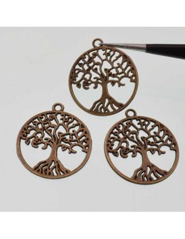 charms Ciondolo albero della vita 25mm in metallo colore bronzo 3 pz