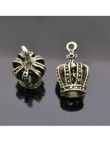 ciondolo corona PENDENTE charms corona argento 12x22 mm 2pz per bigiotteria