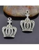 ciondolo corona strass PENDENTE charms corona argento15x21 mm 2pz per bigiotteria
