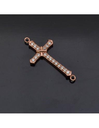 Ciondolo inframezzo Croce con brillanti 24x12 mm in argento 925% Made in Italy